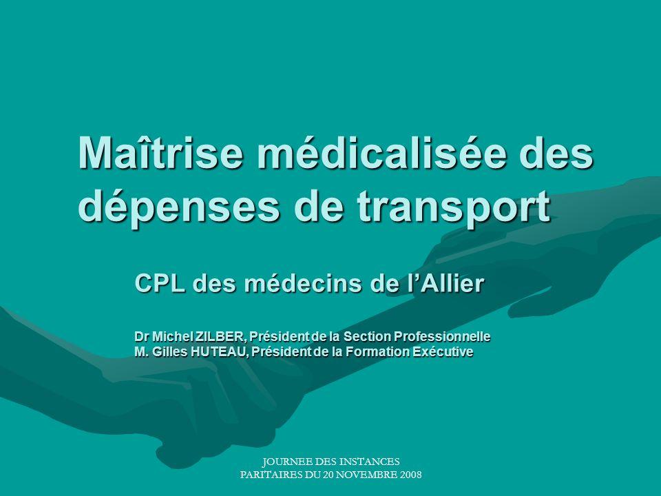 JOURNEE DES INSTANCES PARITAIRES DU 20 NOVEMBRE 2008 Maîtrise médicalisée des dépenses de transport CPL des médecins de lAllier Dr Michel ZILBER, Prés
