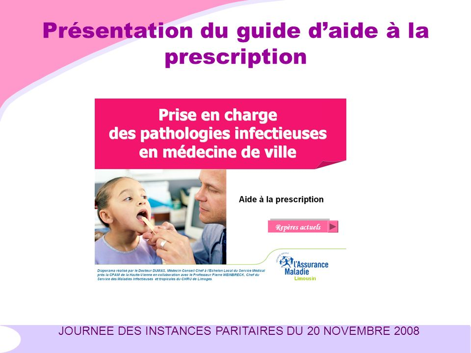 JOURNEE DES INSTANCES PARITAIRES DU 20 NOVEMBRE 2008 Présentation du guide daide à la prescription