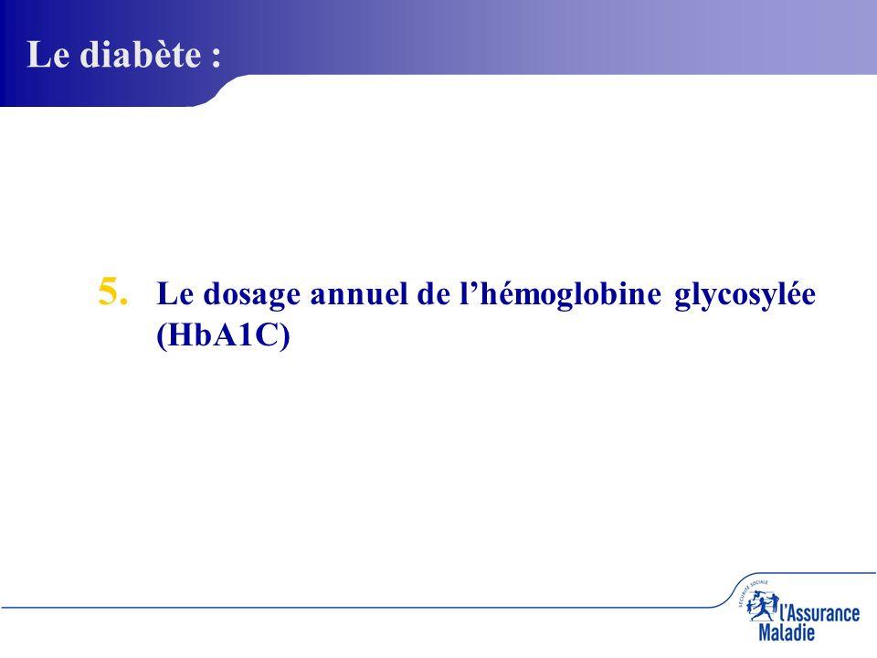 5. 5. Le dosage annuel de lhémoglobine glycosylée (HbA1C) Le diabète :