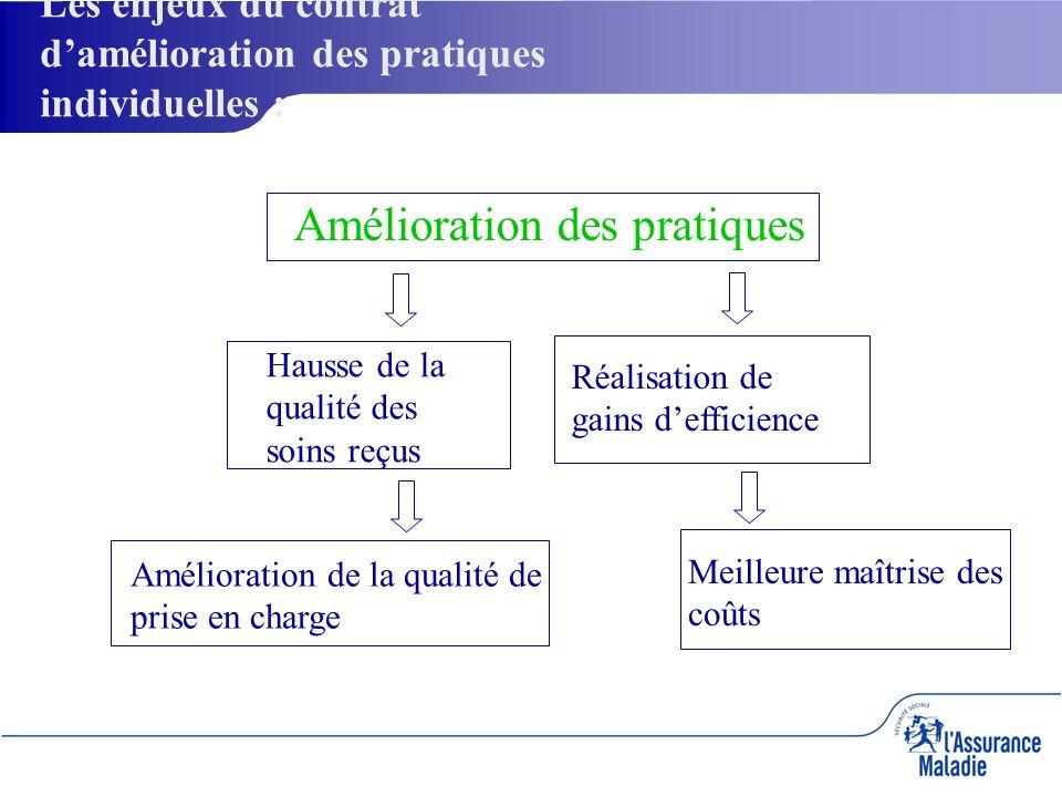 Amélioration des pratiques Hausse de la qualité des soins reçus Réalisation de gains defficience Amélioration de la qualité de prise en charge Meilleure maîtrise des coûts Les enjeux du contrat damélioration des pratiques individuelles :