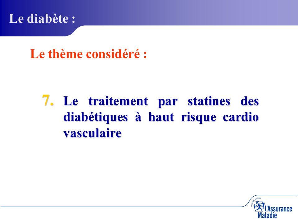 7. Le traitement par statines des diabétiques à haut risque cardio vasculaire Le diabète : Le thème considéré :
