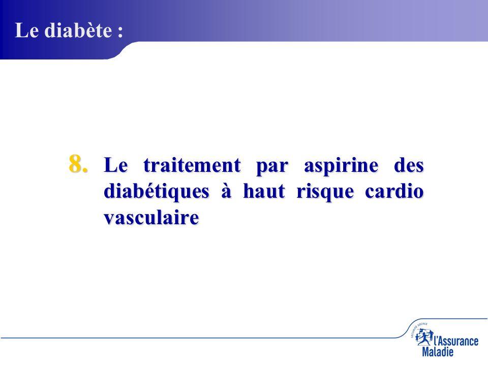 8. Le traitement par aspirine des diabétiques à haut risque cardio vasculaire Le diabète :