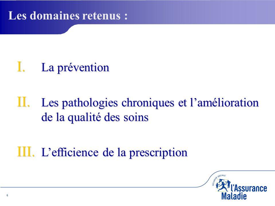 6 I. La prévention II. Les pathologies chroniques et lamélioration de la qualité des soins III.