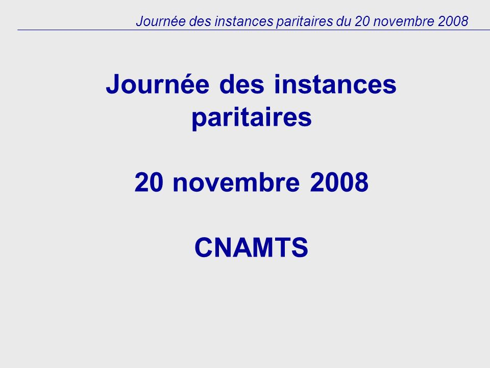 Journée des instances paritaires du 20 novembre 2008 Journée des instances paritaires 20 novembre 2008 CNAMTS