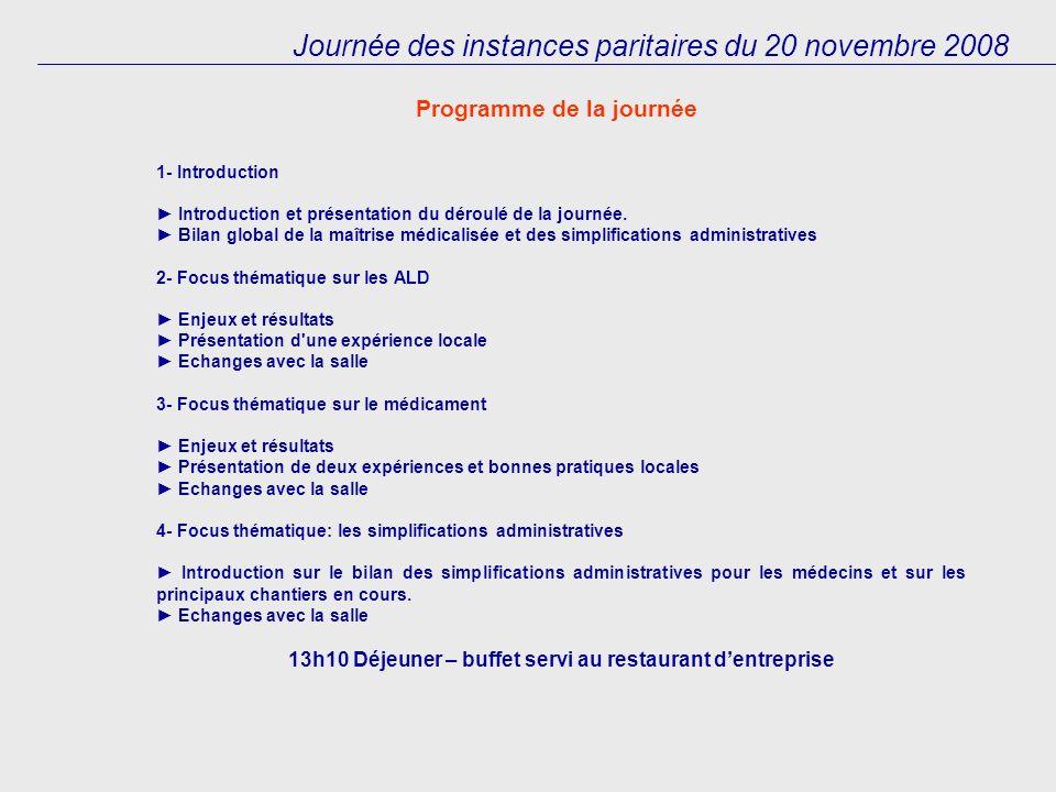 Journée des instances paritaires du 20 novembre 2008 1- Introduction Introduction et présentation du déroulé de la journée.