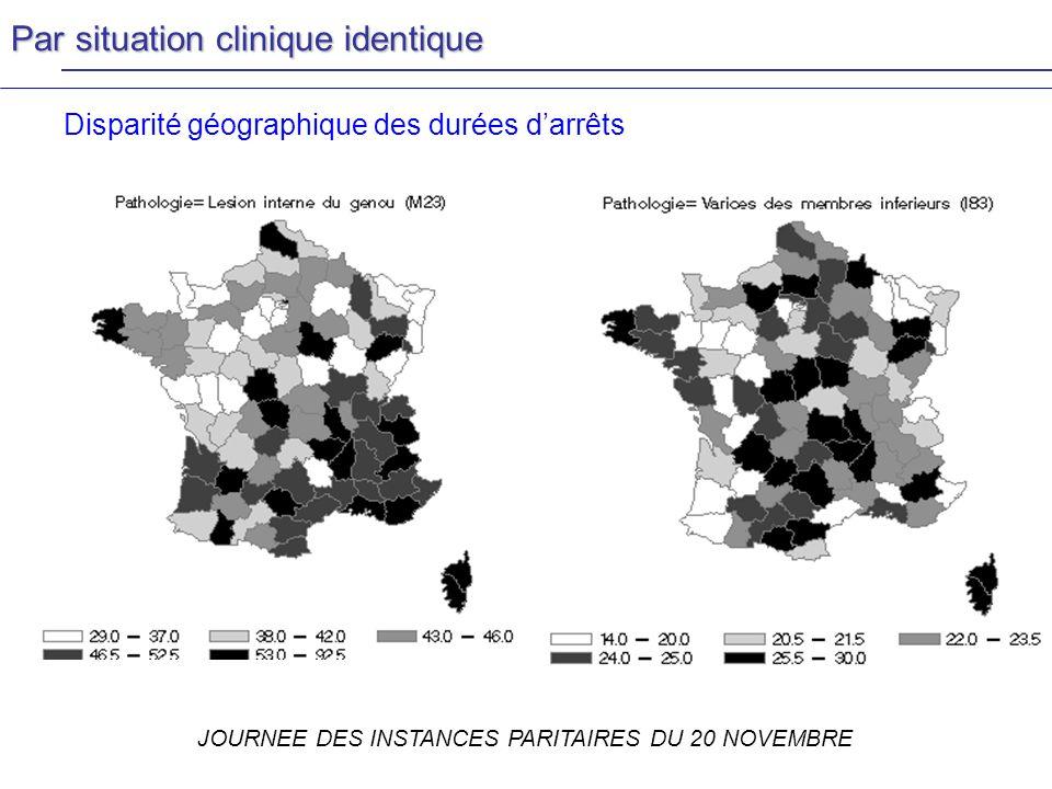 JOURNEE DES INSTANCES PARITAIRES DU 20 NOVEMBRE Disparité géographique des durées darrêts Par situation clinique identique