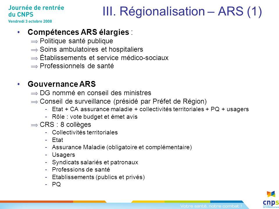 III. Régionalisation – ARS (1) Compétences ARS élargies : Politique santé publique Soins ambulatoires et hospitaliers Établissements et service médico