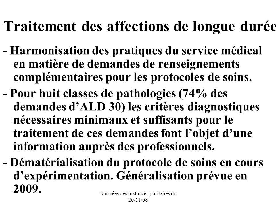 Journées des instances paritaires du 20/11/08 Traitement des affections de longue durée - Harmonisation des pratiques du service médical en matière de demandes de renseignements complémentaires pour les protocoles de soins.