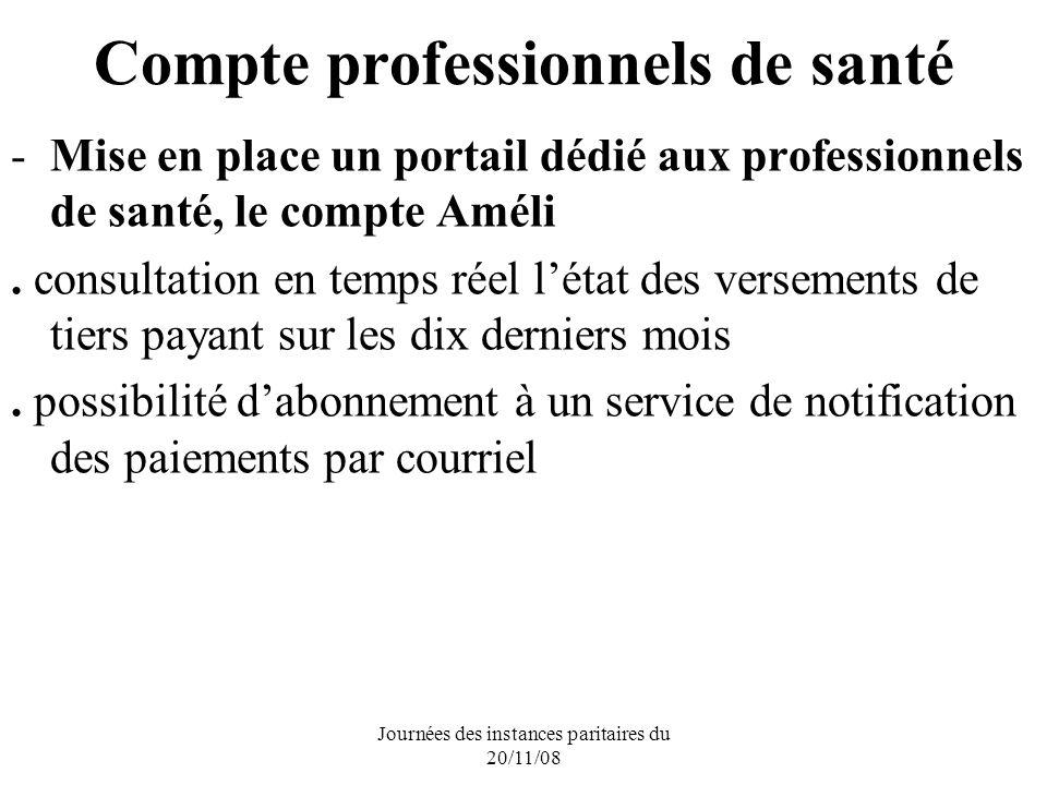 Journées des instances paritaires du 20/11/08 Compte professionnels de santé -Mise en place un portail dédié aux professionnels de santé, le compte Améli.