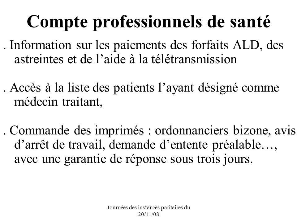 Journées des instances paritaires du 20/11/08 Compte professionnels de santé.