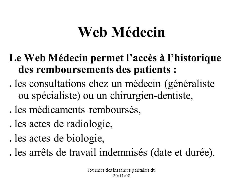 Journées des instances paritaires du 20/11/08 Web Médecin Le Web Médecin permet laccès à lhistorique des remboursements des patients :. les consultati