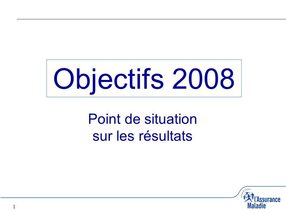 1 Objectifs 2008 Point de situation sur les résultats