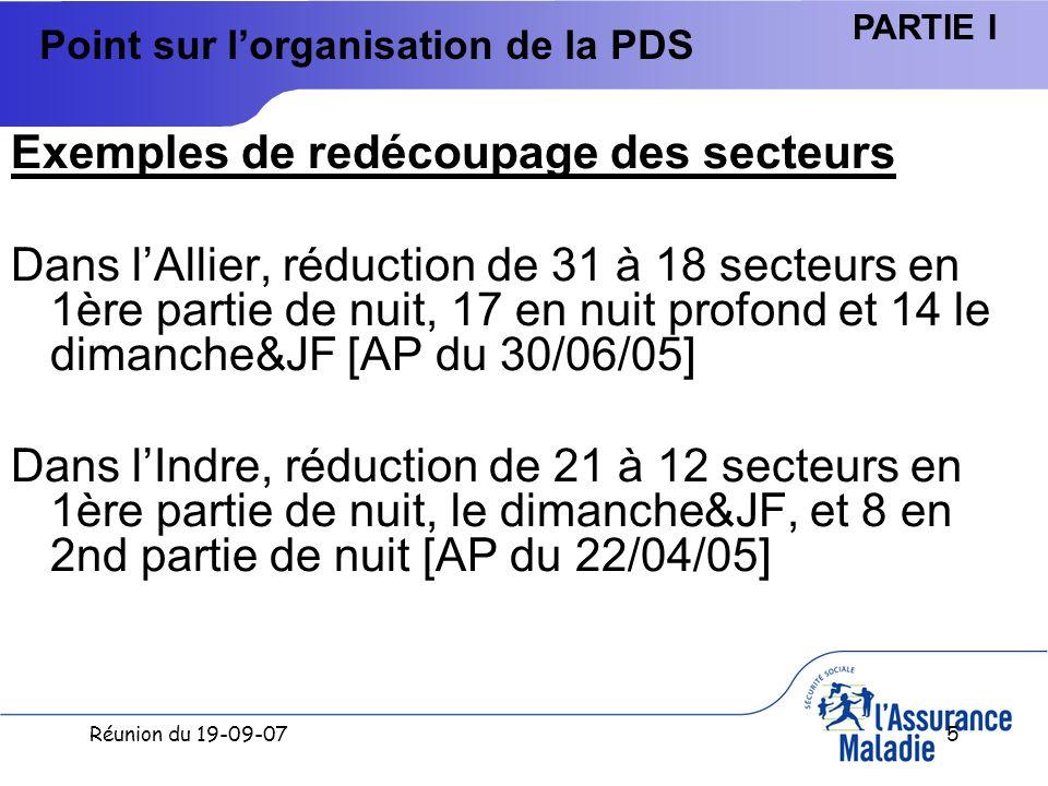 Réunion du 19-09-076 Point sur lorganisation de la PDS PARTIE I Légende En Rouge : pas de réduction de secteurs - En Vert : réductions conformes, ou au- delà des orientations (-15% en 1ere partie de nuit, -50% en nuit profonde) Mémo : Le coût moyen pour les départements restructurés est de 4,53 ; il est de 7,49 pour les départements sans réduction de secteurs.