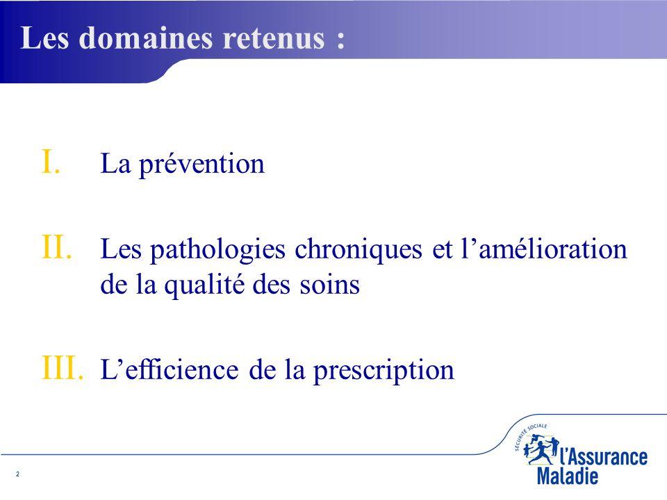 2 I. I. La prévention II. II. Les pathologies chroniques et lamélioration de la qualité des soins III. III. Lefficience de la prescription Les domaine