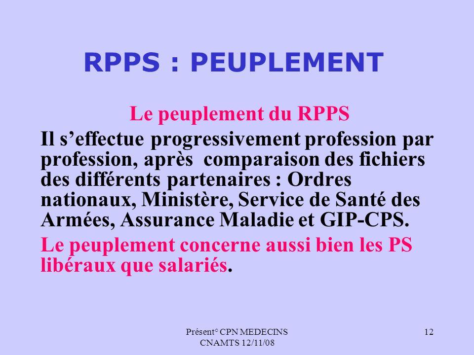 Présent° CPN MEDECINS CNAMTS 12/11/08 12 RPPS : PEUPLEMENT Le peuplement du RPPS Il seffectue progressivement profession par profession, après compara