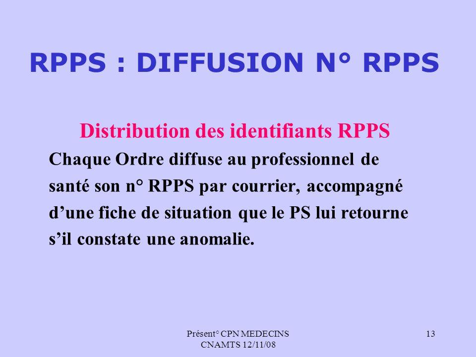 Présent° CPN MEDECINS CNAMTS 12/11/08 13 RPPS : DIFFUSION N° RPPS Distribution des identifiants RPPS Chaque Ordre diffuse au professionnel de santé so