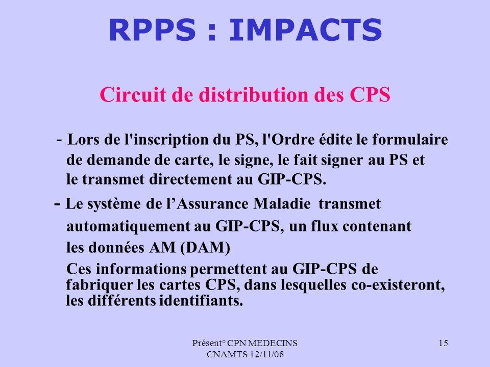 Présent° CPN MEDECINS CNAMTS 12/11/08 15 RPPS : IMPACTS Circuit de distribution des CPS - Lors de l'inscription du PS, l'Ordre édite le formulaire de