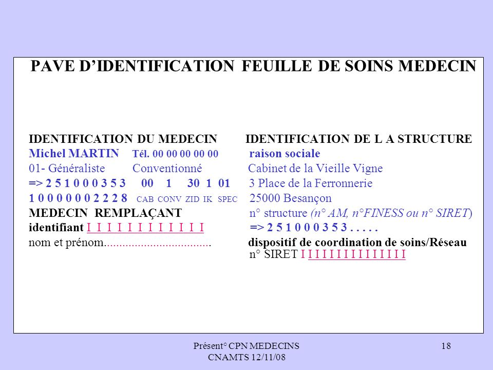 Présent° CPN MEDECINS CNAMTS 12/11/08 18 PAVE DIDENTIFICATION FEUILLE DE SOINS MEDECIN IDENTIFICATION DU MEDECIN IDENTIFICATION DE L A STRUCTURE Miche