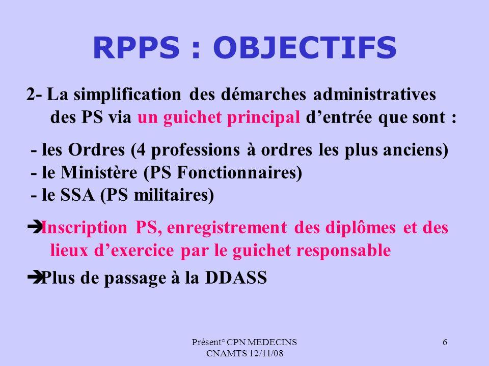 Présent° CPN MEDECINS CNAMTS 12/11/08 6 RPPS : OBJECTIFS 2- La simplification des démarches administratives des PS via un guichet principal dentrée qu