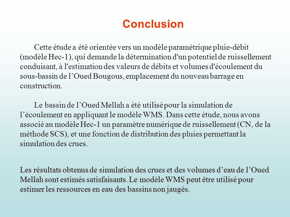 Conclusion Cette étude a été orientée vers un modèle paramétrique pluie-débit (modèle Hec-1), qui demande la détermination d'un potentiel de ruisselle