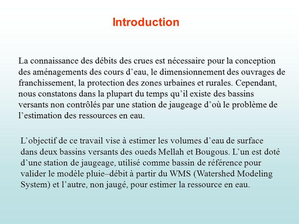 BV Oued Mellah: le volume moyen annuel calculé (période 1975/76-1998/99) est estimé à 104,24 Hm 3 et le volume moyen estimé à partir du modèle WMS est égal à 100,18 Hm 3, soit une sous-estimation de 3,89%.
