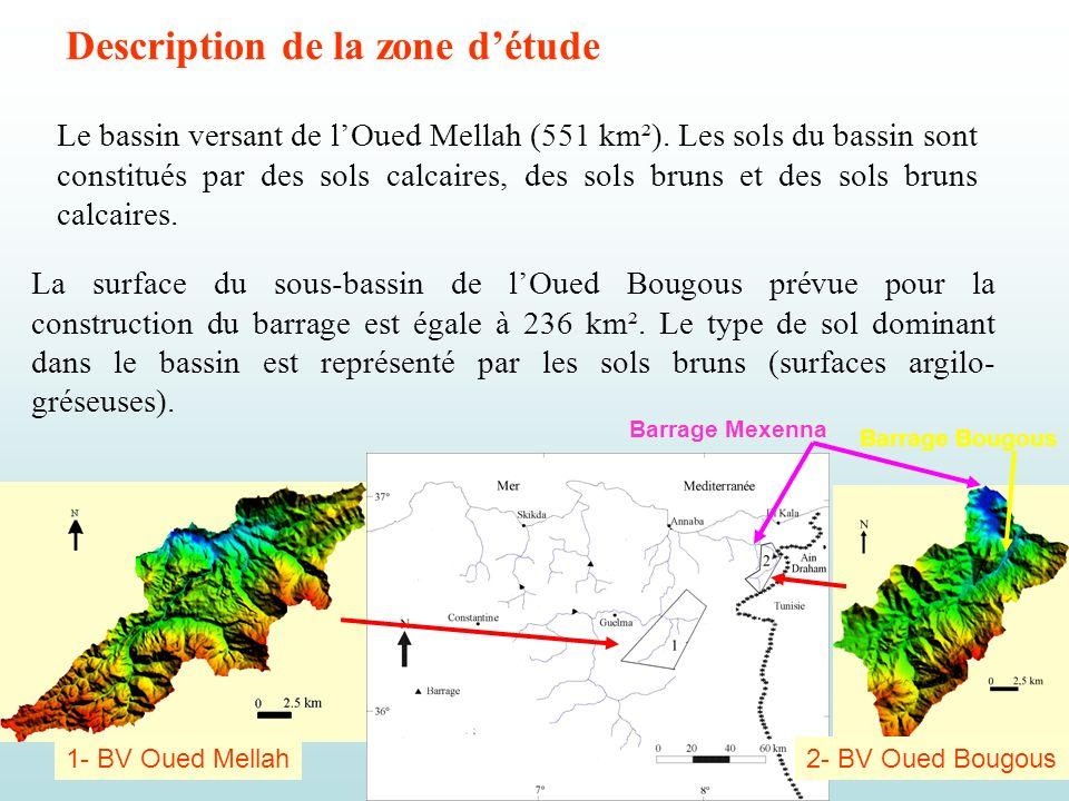 Les deux bassins appartiennent au climat tempéré humide de type méditerranéen, avec une précipitation moyenne annuelle de 707 mm à lOued Mellah et 740 mm à lOued Bougous.