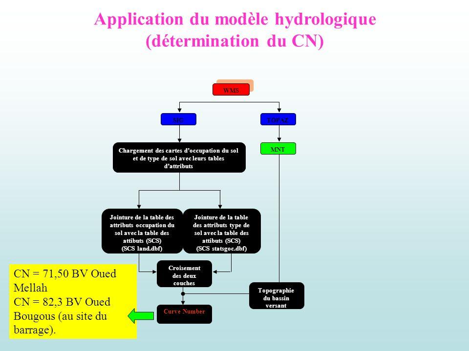 Application du modèle hydrologique (détermination du CN) WMS SIG Chargement des cartes doccupation du sol et de type de sol avec leurs tables dattribu