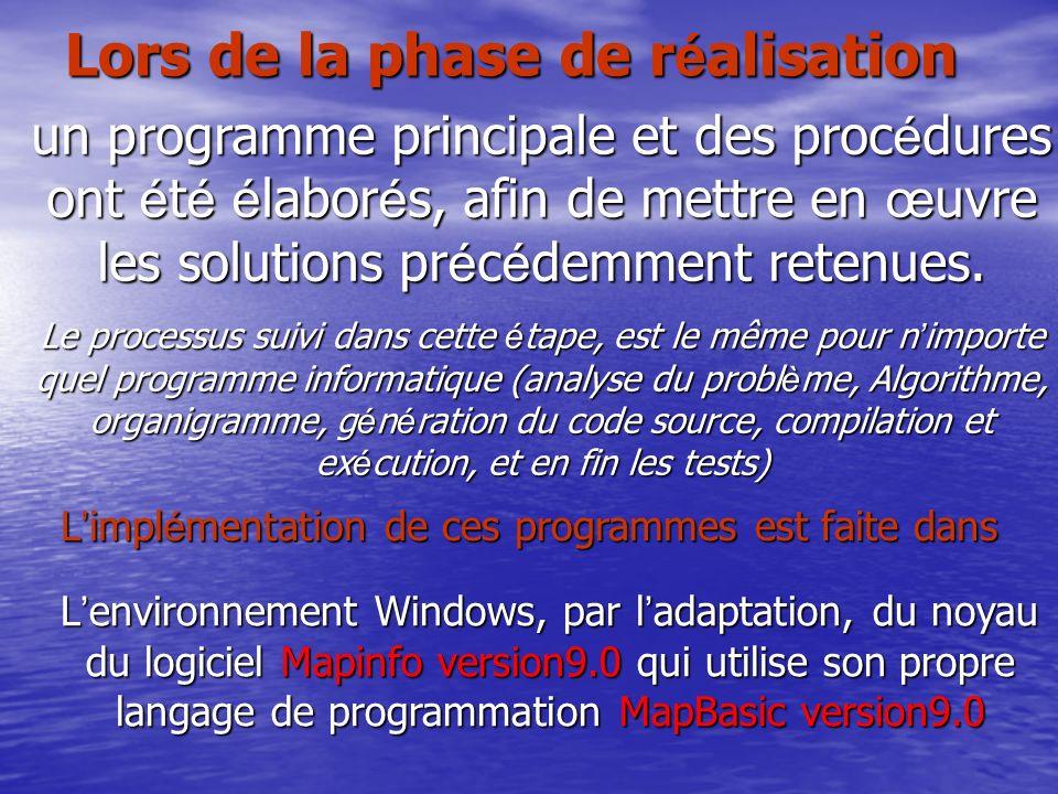 Lors de la phase de r é alisation un programme principale et des proc é dures ont é t é é labor é s, afin de mettre en œ uvre les solutions pr é c é d