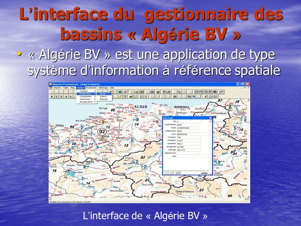 L interface du gestionnaire des bassins « Alg é rie BV » « Alg é rie BV » est une application de type syst è me d information à r é f é rence spatiale