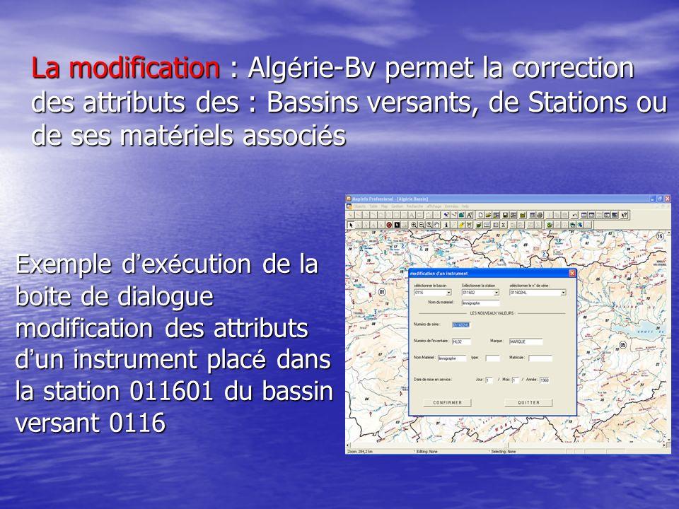 Exemple d ex é cution de la boite de dialogue modification des attributs d un instrument plac é dans la station 011601 du bassin versant 0116 La modif