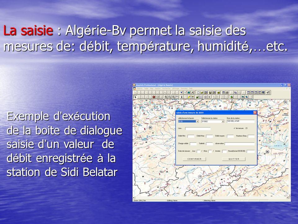 Exemple d ex é cution de la boite de dialogue saisie d un valeur de d é bit enregistr é e à la station de Sidi Belatar La saisie : Alg é rie-Bv permet
