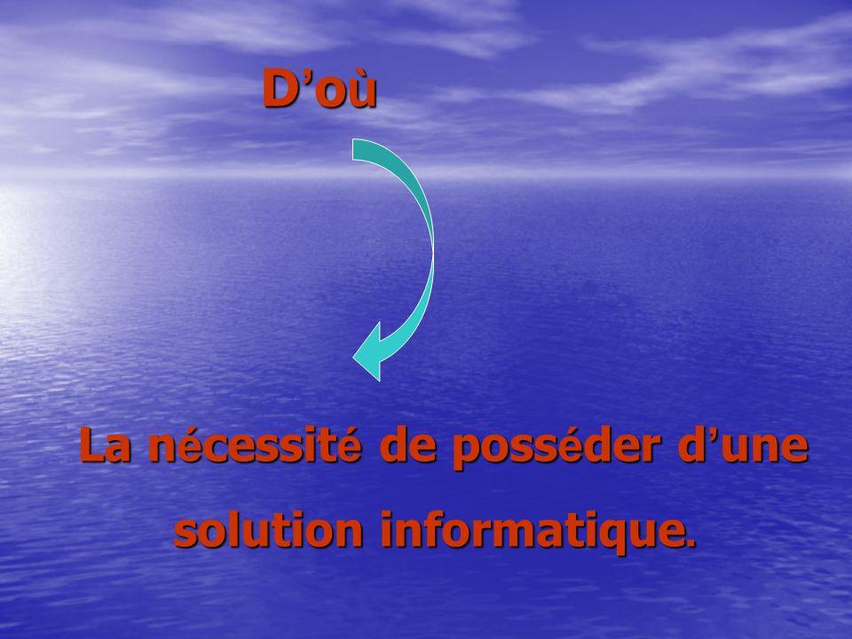 D o ù La n é cessit é de poss é der d une La n é cessit é de poss é der d une solution informatique.