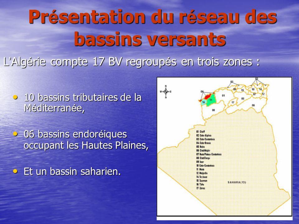 Pr é sentation du r é seau des bassins versants Pr é sentation du r é seau des bassins versants L Alg é rie compte 17 BV regroup é s en trois zones :