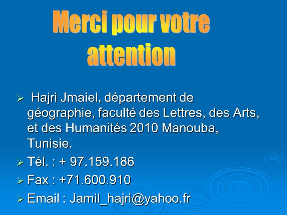 Hajri Jmaiel, département de géographie, faculté des Lettres, des Arts, et des Humanités 2010 Manouba, Tunisie. Hajri Jmaiel, département de géographi