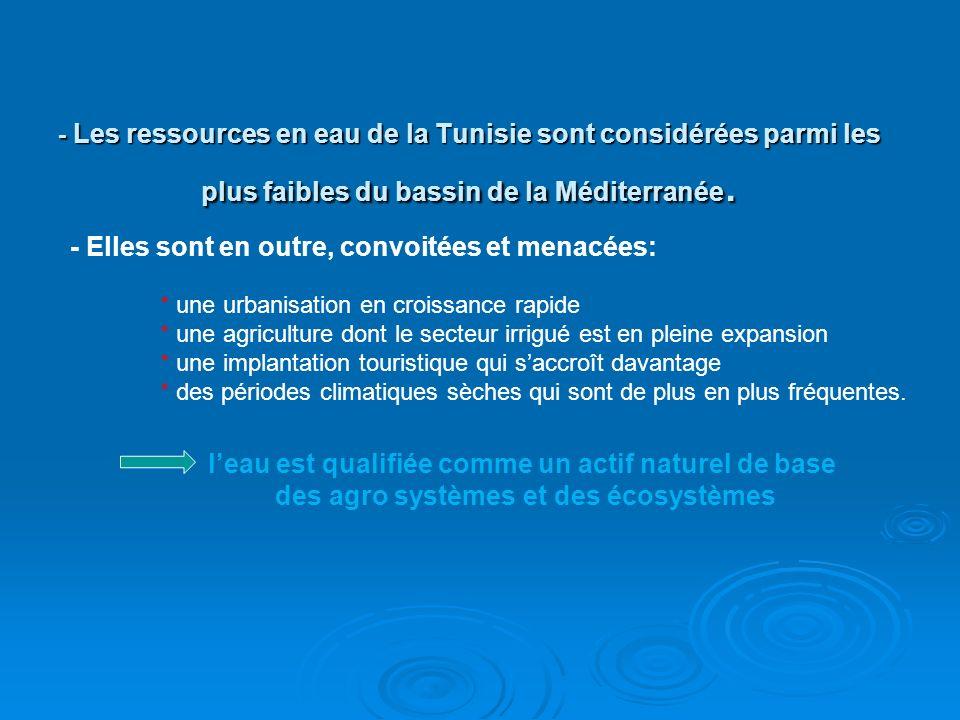 - Les ressources en eau de la Tunisie sont considérées parmi les plus faibles du bassin de la Méditerranée. - Elles sont en outre, convoitées et menac