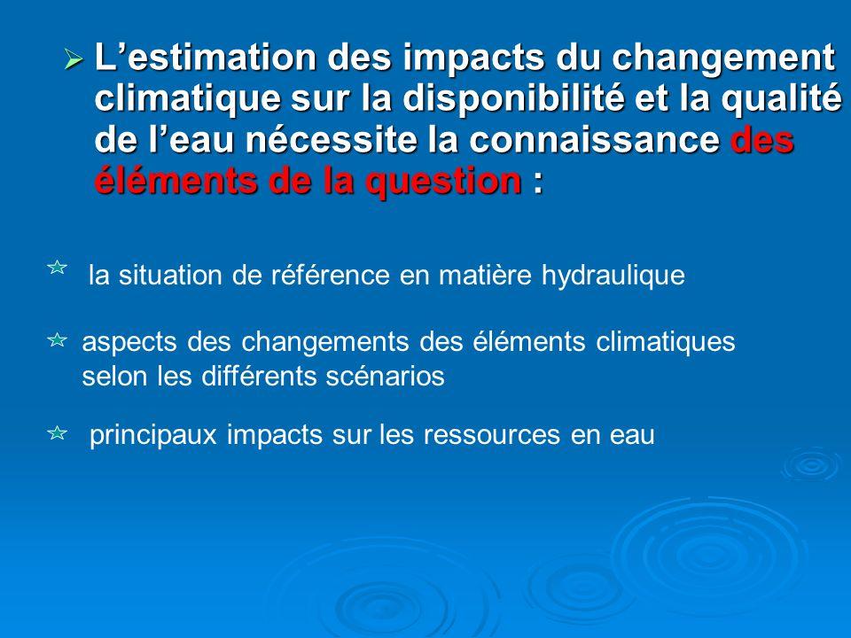 Lestimation des impacts du changement climatique sur la disponibilité et la qualité de leau nécessite la connaissance des éléments de la question : Le