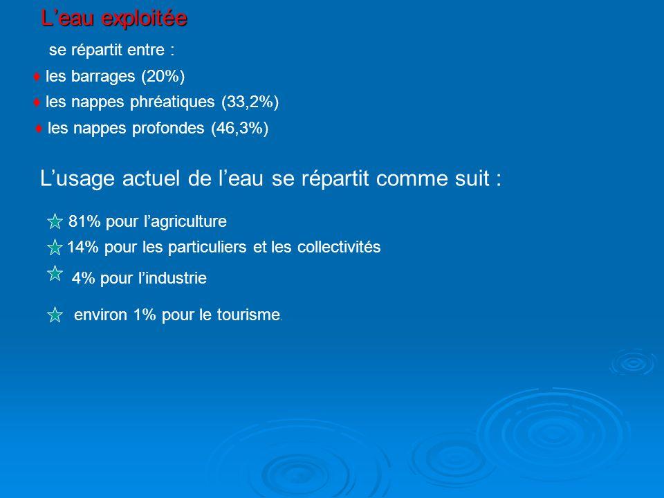Leau exploitée se répartit entre : les barrages (20%) les nappes phréatiques (33,2%) les nappes profondes (46,3%) Lusage actuel de leau se répartit co