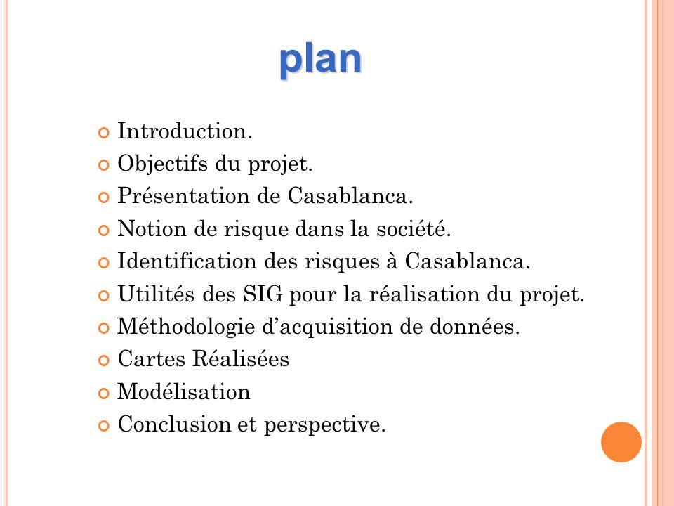 Introduction. Objectifs du projet. Présentation de Casablanca. Notion de risque dans la société. Identification des risques à Casablanca. Utilités des