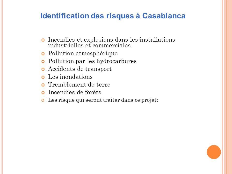 Incendies et explosions dans les installations industrielles et commerciales. Pollution atmosphérique Pollution par les hydrocarbures Accidents de tra