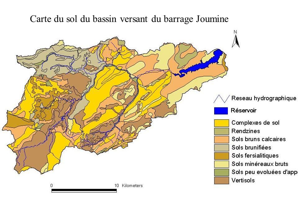 Carte des sols du bassin versant du barrage Joumine Réservoir Carte du sol du bassin versant du barrage Joumine