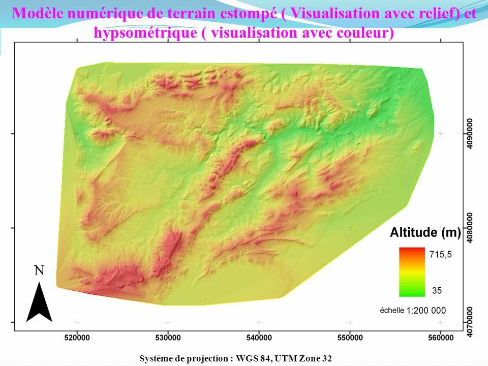 11 Modèle numérique de terrain estompé ( Visualisation avec relief) et hypsométrique ( visualisation avec couleur) Système de projection : WGS 84, UTM