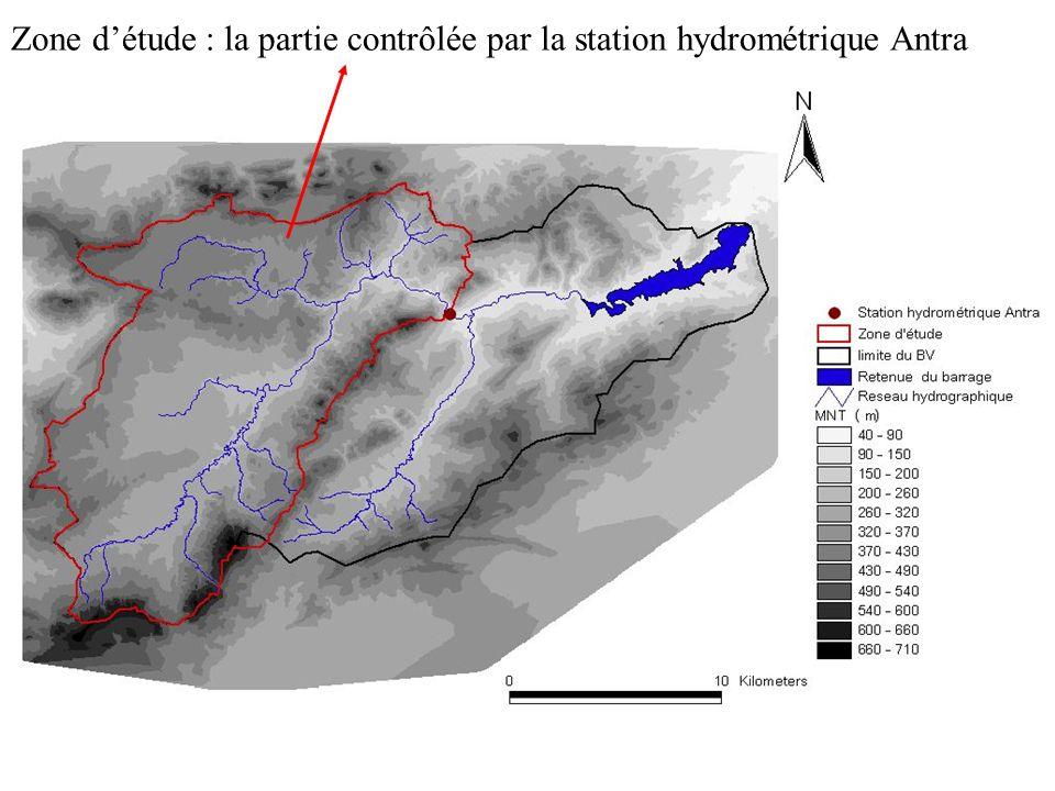Zone détude : la partie contrôlée par la station hydrométrique Antra