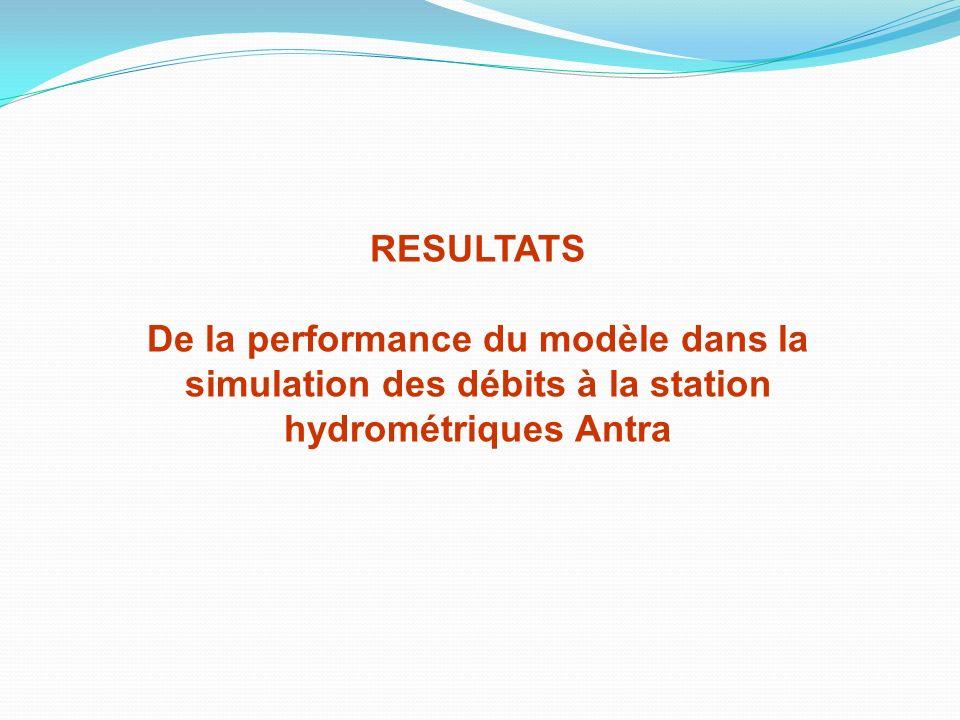 RESULTATS De la performance du modèle dans la simulation des débits à la station hydrométriques Antra