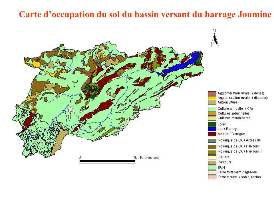 Carte doccupation du sol du bassin versant du barrage Joumine