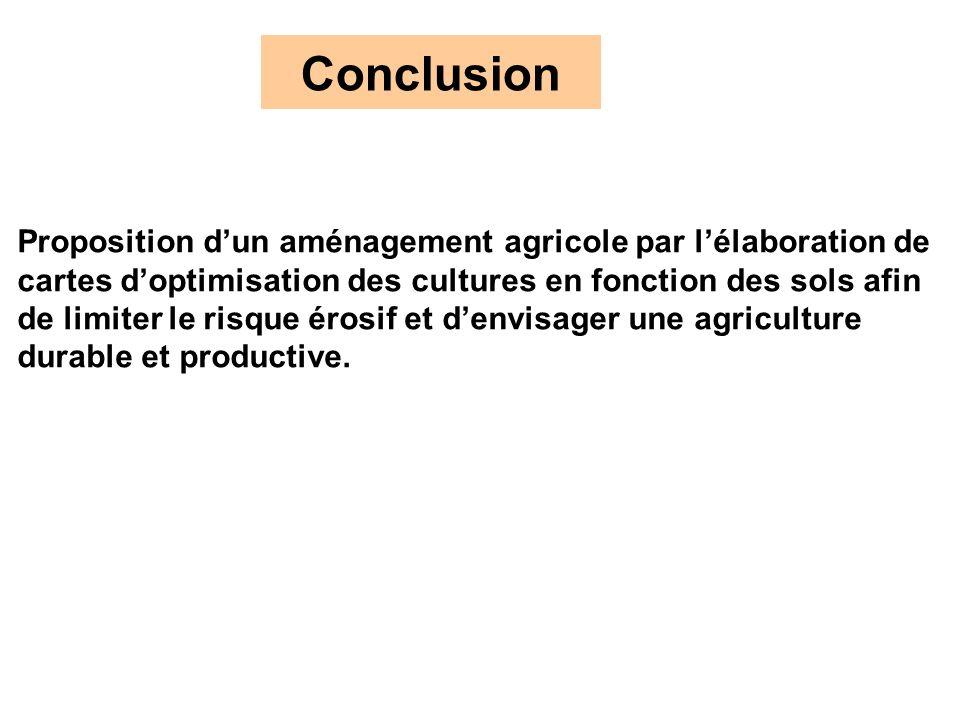 Conclusion Proposition dun aménagement agricole par lélaboration de cartes doptimisation des cultures en fonction des sols afin de limiter le risque é