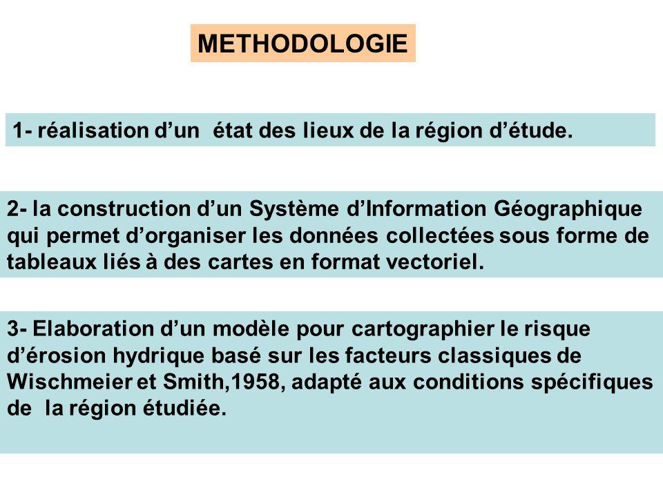METHODOLOGIE 1- réalisation dun état des lieux de la région détude. 2- la construction dun Système dInformation Géographique qui permet dorganiser les
