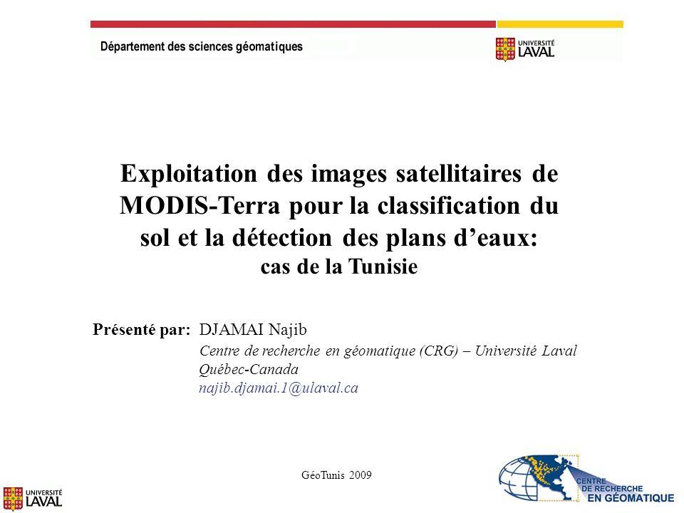 8- Classification avec la distance minimale des signatures spectrales de leau, la végétation, le sol sec et le sol humide 12 ExempleRésultats
