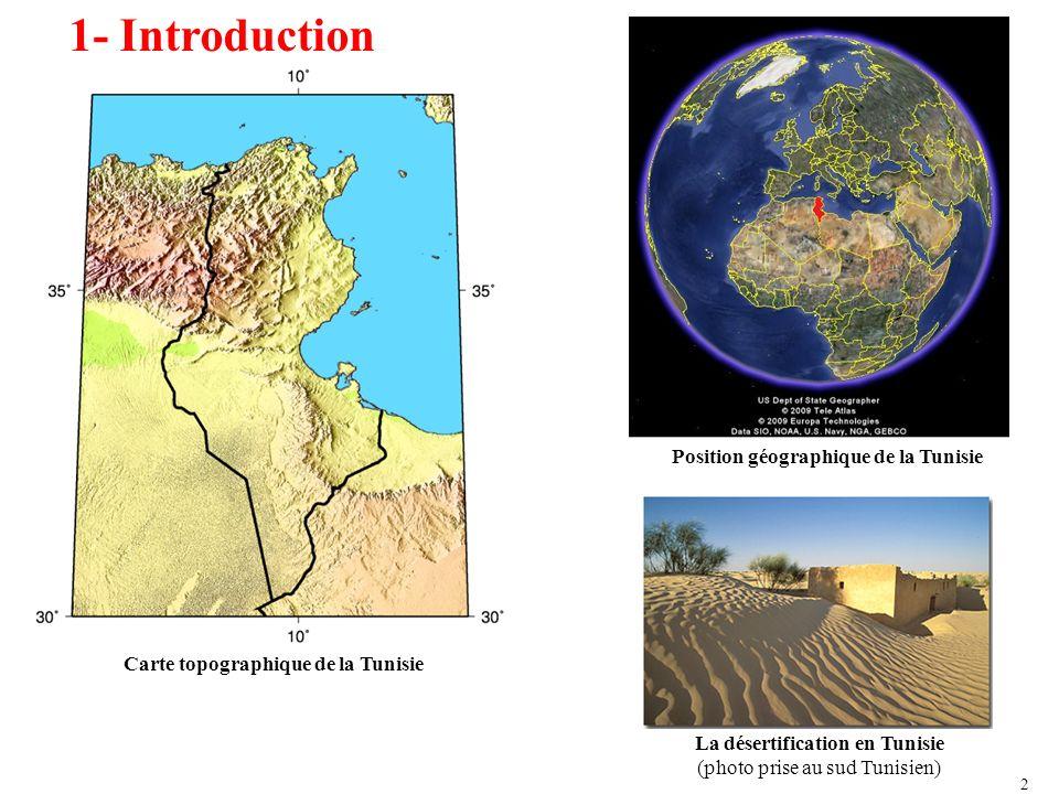 1- Introduction: Outils MODIS-Terra: Le premier satellite du programme EOS Lancement: le 18 décembre 1999 par le NASA Altitude: 705 km Placé sur une orbite héliosynchrone du matin Passe par la zone détude chaque jour vers 11h Fauchée : 2330 km Nombre des bandes : 36 Résolution spatiale : bandes 1 et 2 : 250 m bandes 3-7 : 500 m bandes 8-36 :1000 m Mission Améliorer la compréhension des changements et phénomènes environnementaux Développer des modèles de prédiction des changements planétaires Avoir des décisions éclairées concernant la protection de lenvironnement.