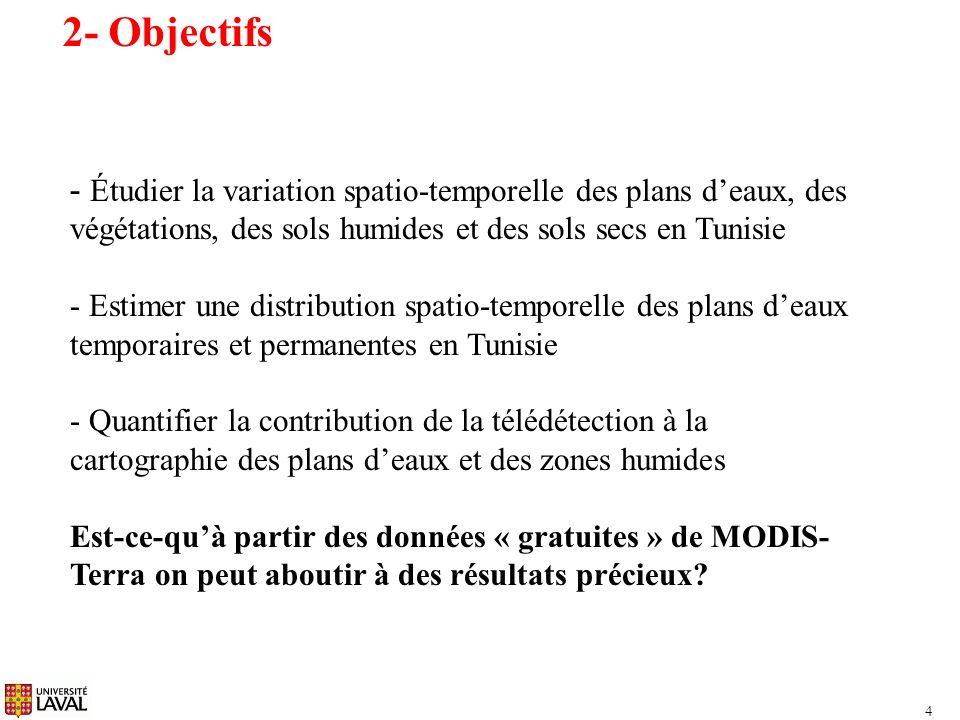 15 9- Détection des plans deaux avec le contraste local du DVW Distribution spatiotemporelle des plans deaux en Tunisie entre 2000 et 2009