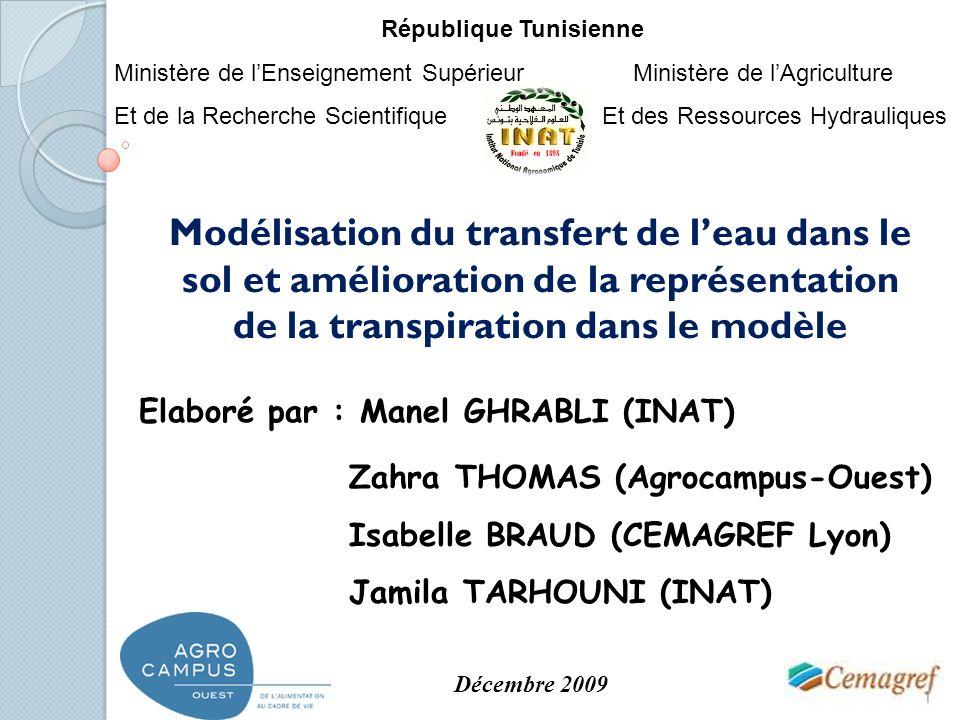 Modélisation du transfert de leau dans le sol et amélioration de la représentation de la transpiration dans le modèle Zahra THOMAS (Agrocampus-Ouest)